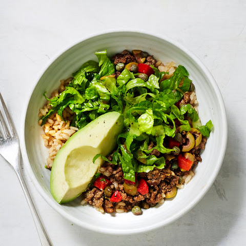 Spanish Beef and Rice Bowls With Avocado