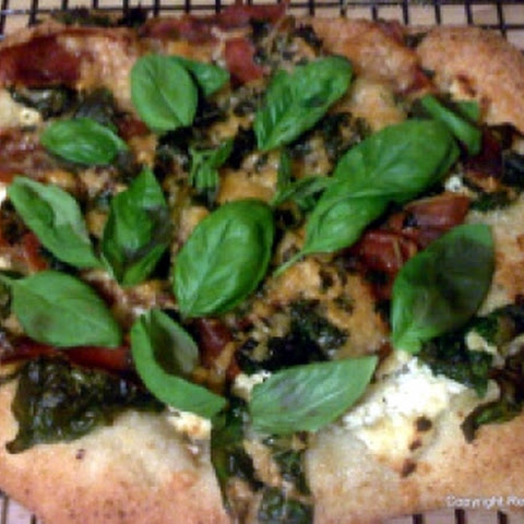 Prosciutto, Spinach and Three Cheese Pizza