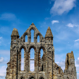 Whitby Abbey by Andrew Lancaster - Buildings & Architecture Public & Historical ( sky, abbey, beautiful, blue, church, whitby, window, windows, worship, building, landscape, stone )