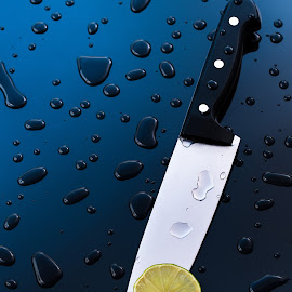 Kitchen knife by Rosu Alexandru - Artistic Objects Cups, Plates & Utensils ( product, water drops, sharp, still life, lime, kitchen, knife, photography, droplets, lemon )