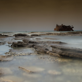 by Christos Psevdiotis - Nature Up Close Rock & Stone ( slow shutter speed, water, wreckship, nikon d3100, waterscape, waves, stone, sea, rock )