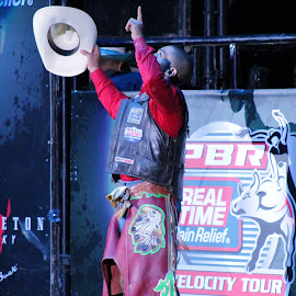 Thank The Man Upstairs by Brian  Shoemaker  - Sports & Fitness Rodeo/Bull Riding ( winning, cowboy, god, bullrider, pbr, portrait )