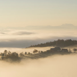 Farm above the fog by Jernej Lipovec - Landscapes Weather ( sony, clouds, farm, urban, fog, slovenia, weather, maribor, sunrise, morning, landscape )