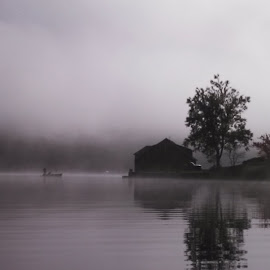 Fishing Brandt Lake by Len Lambert - Instagram & Mobile Android ( b&w, fog, lake, fishing, boat,  )