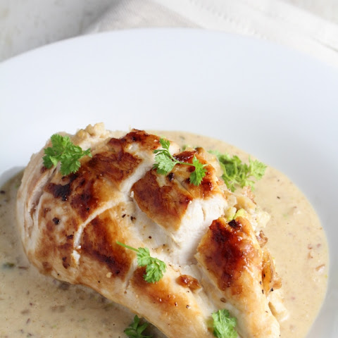 Pistachio-Stuffed Chicken Breasts with Parmesan Cream Sauce