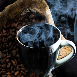 Coffee by Carmen Bouwer - Food & Drink Alcohol & Drinks ( cup, warm, beans, drink, coffee, hot, steam )