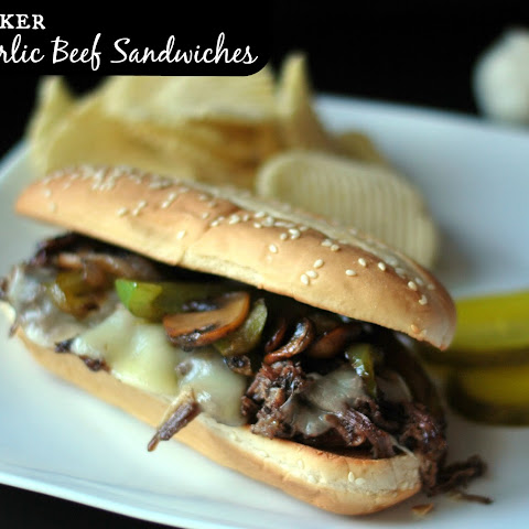 Crock Pot Roasted Garlic Beef Sandwiches