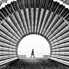 That´s the Point! by Jesus Giraldo - City,  Street & Park  Street Scenes ( concept, person, park, moment, art, pwc79, circle, people, black&white, amazing, urban, foggy, inspiration, cold, autumn, alone, walk, tunnel,  )