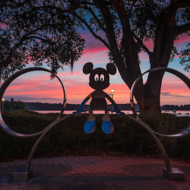 Sunrise with Mickey by Andrew Block - City,  Street & Park  Amusement Parks ( orange, mickey mouse, red, disney world, mickey, sunrise )