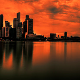 Burning Skyline by Gordon Koh - City,  Street & Park  Skylines