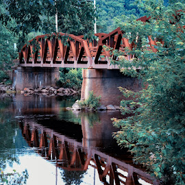 Reflected Bridge by Tim Harris - Buildings & Architecture Bridges & Suspended Structures ( reflection, stream, reflections, bridge, rusty, rust, river )