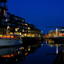 Blue hour apartments by Jan Boesen - Buildings & Architecture Homes ( water, home, reflection, blue, blue hour, apartment, house, boat )
