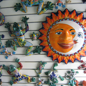 Mexican Metal Art by Laurel Rowe - Artistic Objects Other Objects ( moon, mexico, metal art, frogs, sun, geckos )