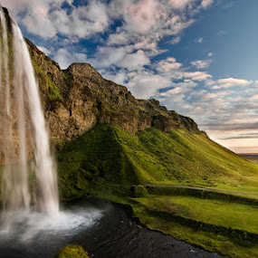 Seljalandsfoss by Henrik Spranz - Landscapes Travel ( clouds, water, iceland, sky, green, sunset, waterfall, light )