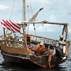 Fishermen boat at Mombasa in Kenya. by Lorraine Bettex - Transportation Boats (  )