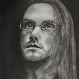 Steven wilson by Akhil D B - Drawing All Drawing ( porcupine tree, sketch, charcoal, black and white, art, fan, chiaroscuro, drawing, steven wilson )