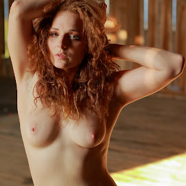 Evening Redhead by Big Pikey - Nudes & Boudoir Artistic Nude ( beauty in the barn, beautiful nude redhead, artistic nude redhead, natural beauty natural light portrait, beautiful art nude girl, evening light nude portrait )