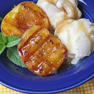 Grilled Peaches, Vanilla Ice Cream and Homemade Caramel Sauce