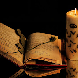 Candle light Reading by Prasanta Das - Artistic Objects Still Life ( candle, old book, reading, light,  )
