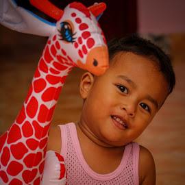 My Afif n his giraffe by Syahrul Nizam Abdullah - Babies & Children Child Portraits