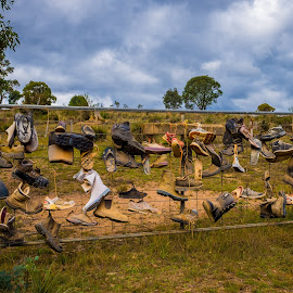 Shoe Gate by Brent McKee - Artistic Objects Clothing & Accessories ( shoes, fuji x, outback australia, outback art, boots, gate )
