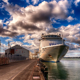 P&O by Richard Kam - Transportation Boats ( princess, cruiser, auckland, ship, p&o, wharf, boat, cruise )