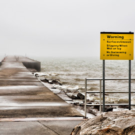 Wilson Harbor in Winter by Tom Fawls - Nature Up Close Water ( sign, stormy, lake ontario, aurimn, winter, america, fog, wilson harbor, new york, mist )