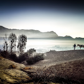 Bromo Mountain by Andre Zuardi - Landscapes Travel ( mountain, nature, sunset, indonesia, horse, sunrise, scenery, morning, bromo, landscape, man )