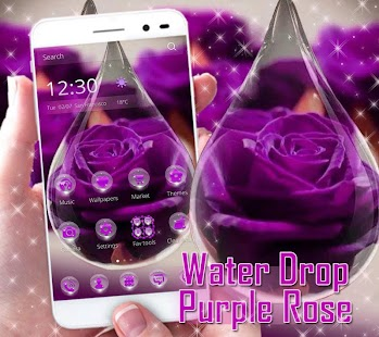 APK App Water Drop Rose Purple Theme for BB, BlackBerry