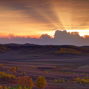 Rays of light by Anthony Lau - Landscapes Cloud Formations ( inner mongolia, grassland, light rays, hdr, colorful, projection, valley, shape, pwcsunbeams, highland, tree, leave, autumn, sunset, cloud, long exposure, china,  )