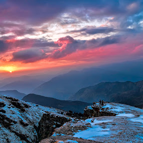 Sunset at Tunganath, Uttarakhand, India. by Arindam Chakrabarty - Landscapes Sunsets & Sunrises