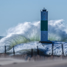 Waves, Wind, sand  and Ice by Brent Morris - Landscapes Waterscapes