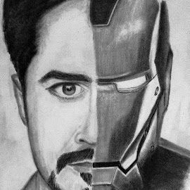 Iron Stark by Akhil D B - Drawing All Drawing ( fan art, robert downey jr, marvel, pencil sketch, ironman, fan, tony stark )