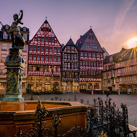 Romerberg - Frankfurt by Will Shuck - City,  Street & Park  Historic Districts ( frankfurt, germany, sunrise, town square )