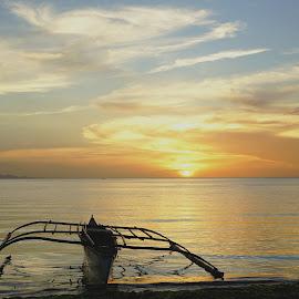 Balance by Karen Lee - Transportation Boats ( balance, sunset, water transport, coastal town, float, wooden boat )