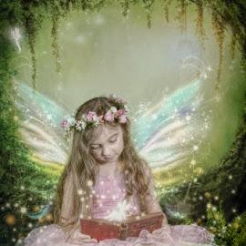 Magic Happens In A Book by Chris Cavallo - Digital Art People ( sparkle, maine, digital manipulation, enchanted, woodland, light, wings, book, girl, fairies, fairy, digital art )