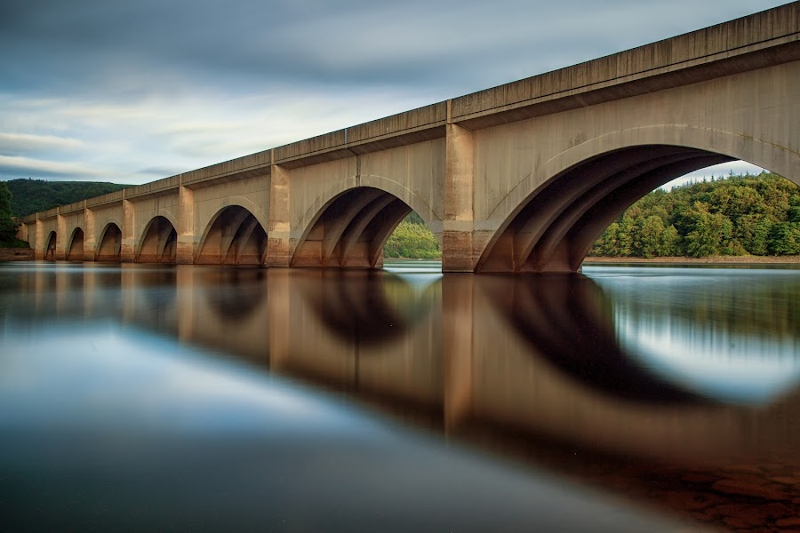 Reflections under the bridge by Andy Young - Buildings & Architecture Bridges & Suspended Structures ( reservoir, uk, sunset, peak district, lady bower reservoir )