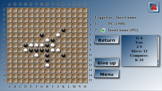 Tic Tac Toe x 5 as Gomoku- screenshot thumbnail