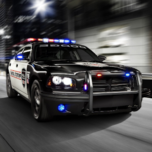 Fast Police Car Driving 3D Icon