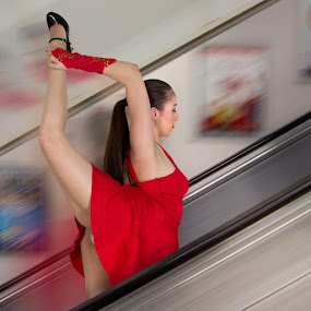 Dance Steps by Mike Lloyd - People Musicians & Entertainers ( girl, ballet, dance, escalator, women, lady, red )