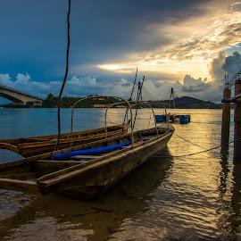 couple by Demi Nst - Transportation Boats ( sunset, sea, bridge, beach, transportation, landscape, boat )