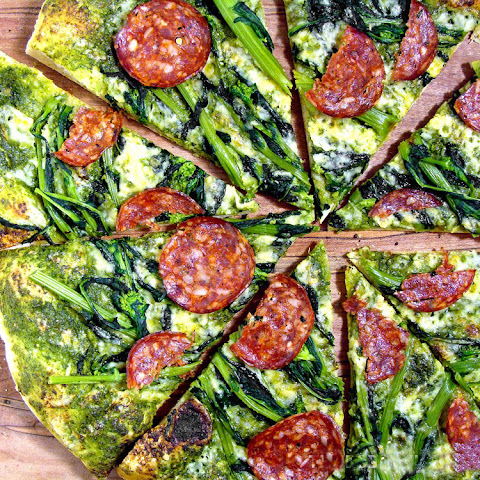 Ramp Pesto Pizza With Broccoli Rabe And Cured Meat