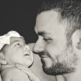 Expression of love by Love Time - People Family ( expression, love, black and white, family, daughter, bonding, baby, cute, father )