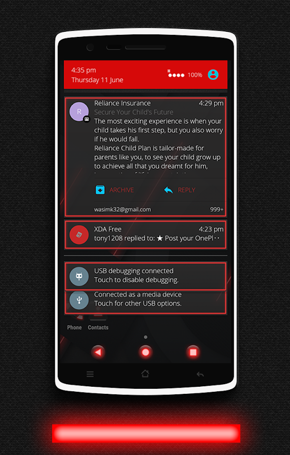 Glow Red CM13 CM12/12.1 Theme Screenshot 4