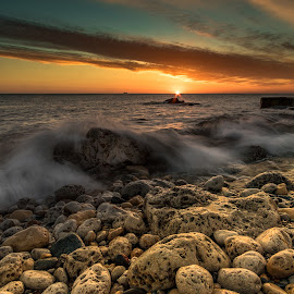 Sunrise over South Shields by Mandy Hedley - Landscapes Sunsets & Sunrises ( north sea, south shields, beach, seascae, sunrise, rocks )