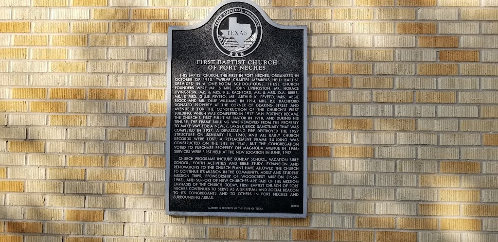 This Baptist church, the first in Port Neches, organized in October of 1910. Twelve charter members held Baptist services in a one-room schoolhouse. These church founders were Mr. & Mrs. John ...