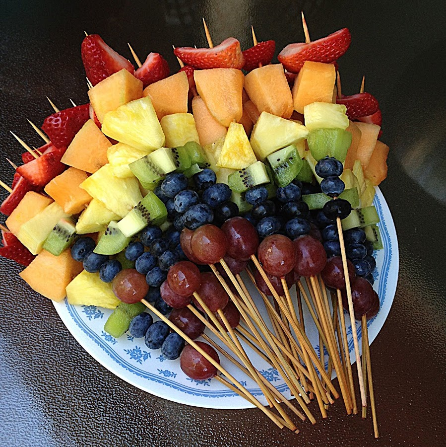 Fruit kabobs by Pam Blackstone - Food & Drink Fruits & Vegetables ( shishkabob, orange, fruit, purple, green, skewer, yellow, blueberries, kabobs, melon, red, vlue, cantaloupe, kiwi, strawberries, kiwi fruit, pineapple, grapes., rainbow, dessert,  )