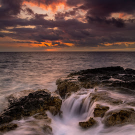 Hawaiian Toilet Bowls by Jared Goodwin - Landscapes Sunsets & Sunrises ( waterfalls, waterscape, waterfall, rock, landscape, photography, island, parade, sky, sunsets, cloudy, sunshine, long exposure, rocks, hawaii, water, clouds, sea, cloudscape, seascape, paradise, sunset, islands, cloud, landscapes, slow shutter )