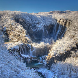 Winter Falls by Peter Kennett - Landscapes Travel ( plitvice, winter, snow, waterfall, croatia )