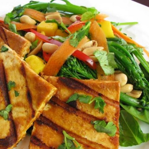 Grilled Spicy Peanut Tofu Steaks & Mango Spinach Broccolini Salad